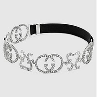 GUCCI New fashion letter more diamond Headband Personality headdress women Silver
