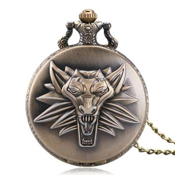 Cool The Witcher 3 Wild Hunt Theme Lion Case Bronze Gray Fob Quartz Pocket Watches for Men Boys Game Gift Item