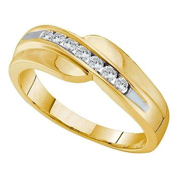 14kt Yellow Gold Men's Round Diamond Curved Wedding Anniversary Band 1/4 Cttw - FREE Shipping (US/CAN)