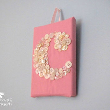 Small Fabric Button Initial - 5x7 lower case button initial, wall art, wall hanging, wedding gift, children's room, baby shower, home decor