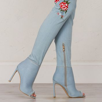 Embroidered Over The Knee Peep Toe Boots in Light Denim
