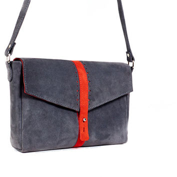 Grey and Red leather clutch. Suede leather crossbody bag. Grey leather bag
