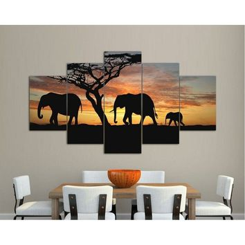 5 Pieces Three Elephants Sunset Landscape Large Size Beautiful HD Modern Home Wall Decor Abstract Canvas Print Oil Painting