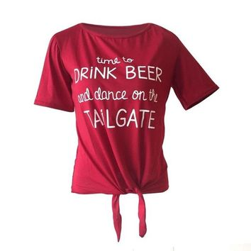Time To Drink Beer And Dance On The Tailgate - Women's Drinking T-shirt