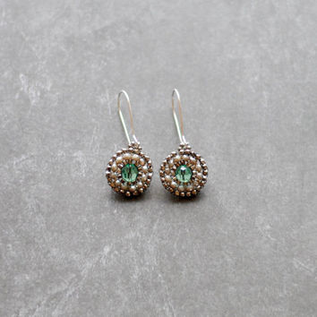 Beaded Crystal Seed Bead Earrings // Sterling Drop Earrings // Green and Silver Earrings // Dressy Seed Bead Earrings E042 by Indigo Lunch