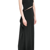 Roberto Cavalli - Asymmetric Floor Length Gown with Sheer Insert