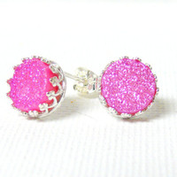 Pink druzy studs druzy stud earring sterling silver studs gemstone drusy earrings pink studs metalsmith Etsy jewelry