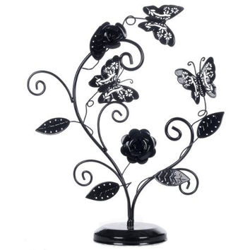 Fanciful Butterflies and Elegant Roses Heart Shaped Black Metal Earring Displayer Ring Holder Bracelet Necklace Hanger Jewelry Organizer