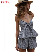 OOTN  Gingham Suits Female Sets Women Black And White Casual 2017 Summer Work Wear Plaid Slip Tops And Shorts Ruffles Pocket