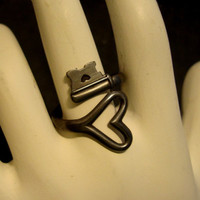 Valentine, HEART RING, Vintage Style Key With A Heart, Dark Patina Or Brass Ox Finish