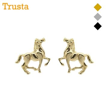 Trusta New Women Kids Jewelry Pretty Gold/Silver/Black Small Horse Dragon Elephant Rabbit Bird Earring Stud Free Shipping ZH19