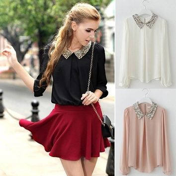 Hot Top Fashion Korean Lady Long Sleeve Chiffon Paillette Lovely Collar T-Shirt