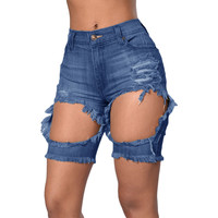 Blue Destroyed Bermuda Shorts LAVELIQ