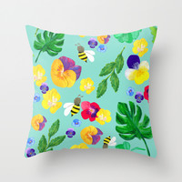 Pansy floral and the bees Throw Pillow by Canigrin