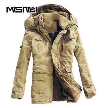 Thick Warm Winter Jacket Men Casual Slim Hooded Parka Men Youths Coat