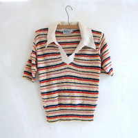 vintage striped knit sweater top. preppy knit shirt.