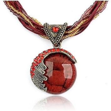 F&U Vintage Jewelry Pendant Necklace Bohemian Crystal Multilayer Chain Handmade Style Retro Necklace