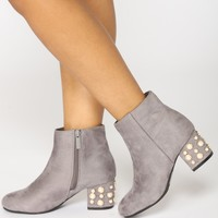 Pearls Please Bootie - Grey