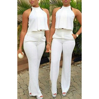 Stylish Halter Solid Color Crop Top + High-Waisted Pants Twinset For Women