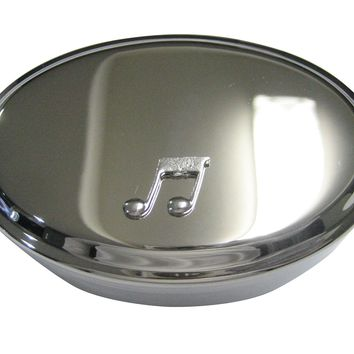 Silver Toned Textured Quaver Musical Note Oval Trinket Jewelry Box