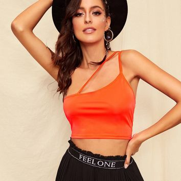 One Shoulder Fitted Crop Top
