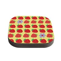 "Jane Smith ""Seasons Summer"" Yellow Red Coasters (Set of 4)"
