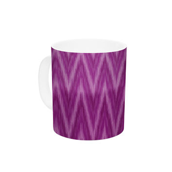 "Amanda Lane ""Plum Purple Chevron"" Lavender Fuschia Ceramic Coffee Mug"
