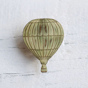 Hot Air Balloon Brooch ... Buttermilk Yellow Cream Shabby Steampunk Explorer