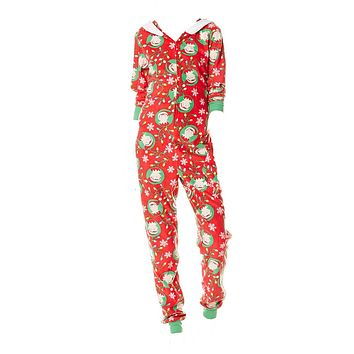 Elf Onesuit Holiday Ladies Zip Pajama