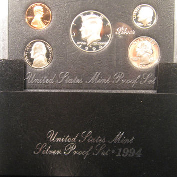 Silver Proof Coins, 1994 US Proof Coins, JFK Silver Half Dollar, Coin, Kennedy Silver Proof Coin Set Proof Silver Coins Kennedy Silver Proof