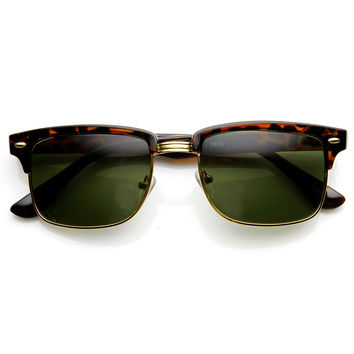 Modified Classic Square Half Frame Horn Rimmed Sunglasses