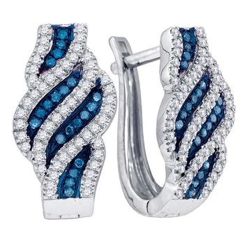 10kt White Gold Womens Round Blue Color Enhanced Diamond Spiral Stripe Hoop Earrings 1/3 Cttw