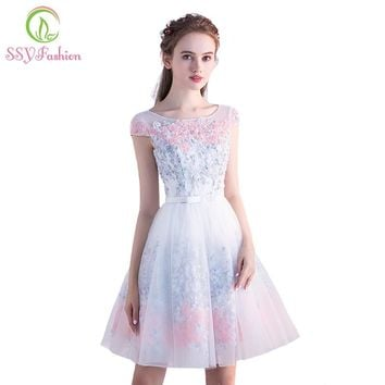 SSYFashion New Bridesmaid Dresses Sweet Flower Short Party Gown Scoop Can Sleeves Appliques Youg Girl Formal Graduation Dresses