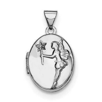 Sterling Silver Rhodium-plated 17mm Oval Fairy Wishes Locket QLS606