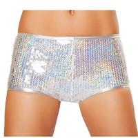 Holographic Silver Sequin Shorts : Hotpant with Sequins Rave Shorts