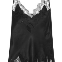 Carine Gilson - Chantilly lace-trimmed silk-satin camisole