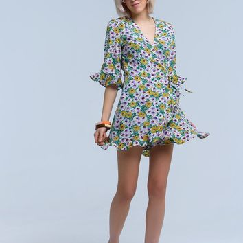 Green tea dress with floral print