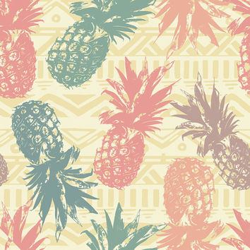 Pineapple on Tribal Removable Wallpaper