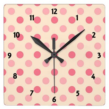 Pale Pink Polka Dots Square Wall Clock
