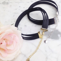 Isabella - Black Faux Leather Six Stranded Choker
