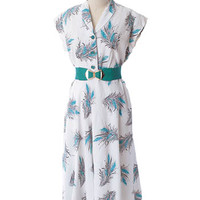 40s 50s Botanical Print Shirtwaist Day Dress