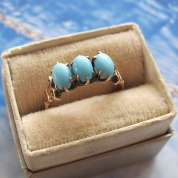 Victorian 14K YG Persian Turquoise 3 Stone Ring