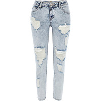 River Island Womens Acid wash ripped Eva girlfriend jeans