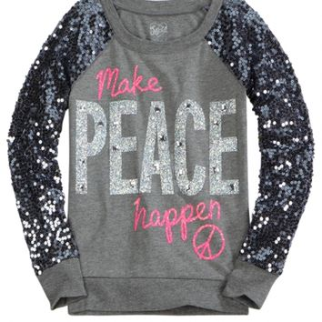 Sequin Sleeve Knit Sweatshirt | Girls Tops & Tees Clothes | Shop Justice