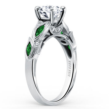 "Kirk Kara ""Dahlia"" Green Tsavorite Garnet Leaf Diamond Engagement Ring"