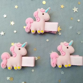 Boutique 10pcs Fashion Cute Pink Unicorn Hairpins Kawaii Solid Soft Resin Horse Animal Hair Clips Princess Hair Accessories