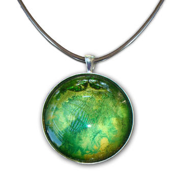 Handmade Art Pendant Hand painted glass pendant  Hand painted jewelry  necklace Alcohol ink pendant Green and gold pendant Earth Element