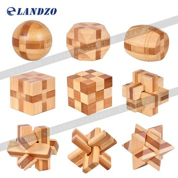 Design IQ Brain Teaser Kong Ming Lock Wooden Interlocking Burr 3D Puzzles Game Toy Intellectual Educational For Adults Kids