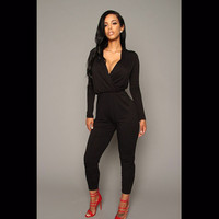 Winter Women's Fashion V-neck Long Sleeve High Rise Irregular One-piece Jumpsuit [4919587204]