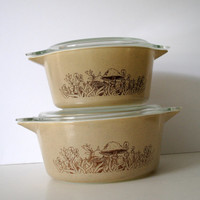 PYREX Forest Fancies Set of 2 Cinderella Casseroles- Mushrooms - (#500.62)